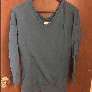 Aerie V-Back Teal Sweater